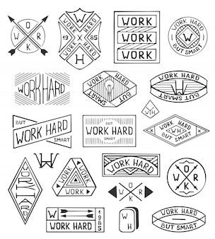 Hand getrokken logo set. moderne vintage logo sjablonen werk hard.