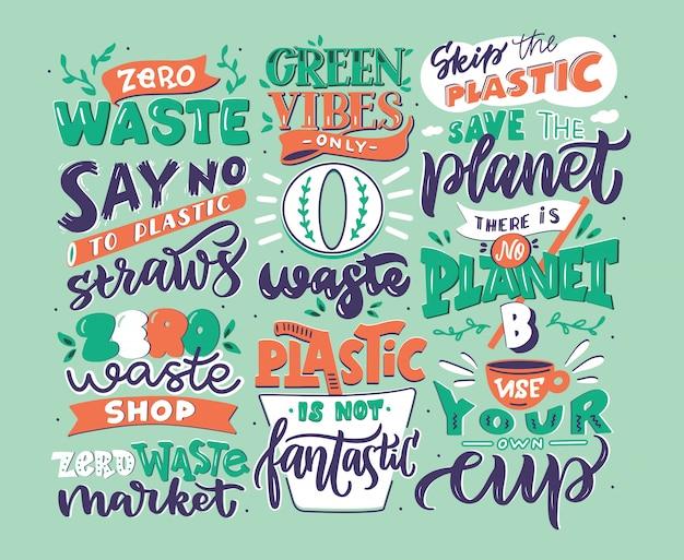 Hand getrokken logo set nul afval zinnen, handgeschreven letters samenstelling geïsoleerd, illustratie collectie