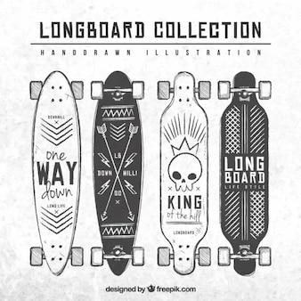 Hand getrokken longboard collectie