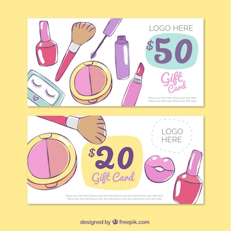 Hand getrokken make-up accessoires banners
