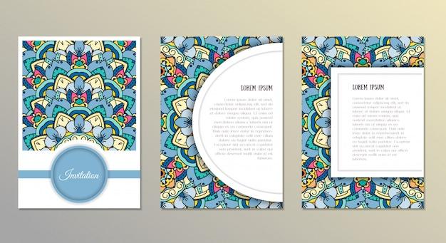 Hand getrokken mandala kaarten set