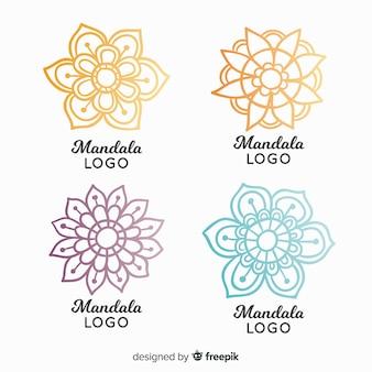 Hand getrokken mandala logo collectie