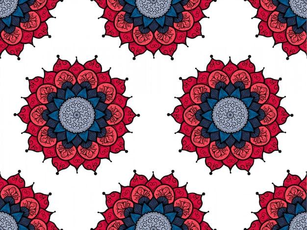 Hand getrokken mandala naadloze patroon. decoratio van de arabische, indische, turkse en ottomaanse cultuur