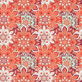 Hand getrokken mandala naadloze patroon