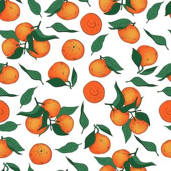Hand getrokken mandarijnen patroon