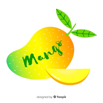 Hand getrokken mango en bladeren achtergrond