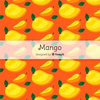 Hand getrokken mango en bladeren patroon