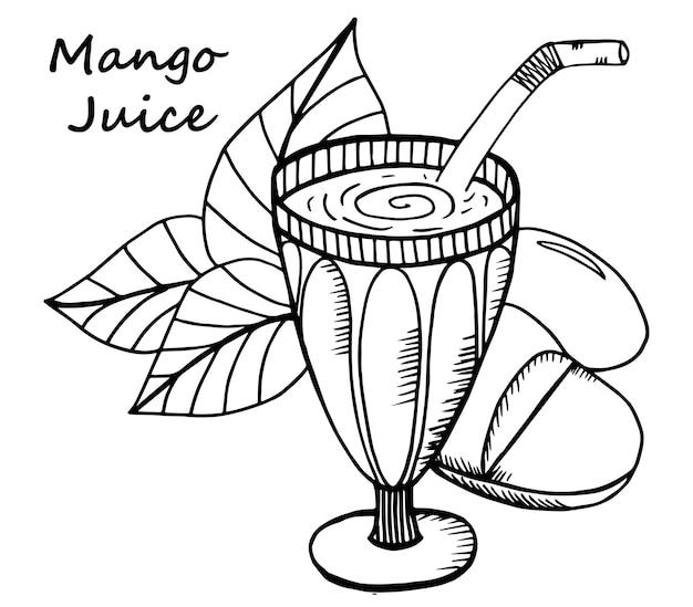 Hand getrokken mangosap in een glas