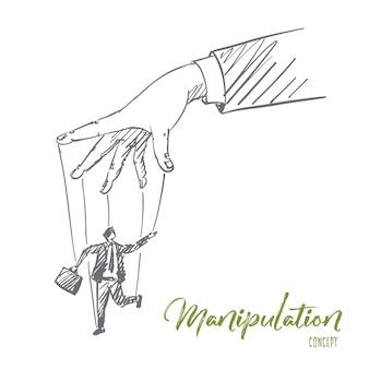 Hand getrokken manipulatie concept schets