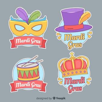 Hand getrokken mardi gras stickers
