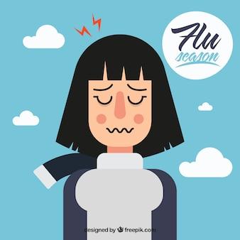 Hand getrokken meisje met griepsymptomen