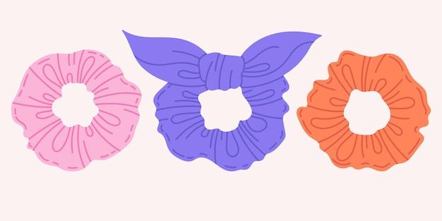 Hand getrokken meisjes haar scrunchies geïsoleerde cartoon vector iconsset
