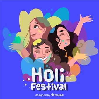 Hand getrokken meisjes holi festival achtergrond