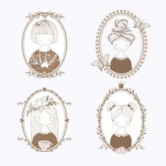 Hand getrokken meisjesportretten. botanische frames