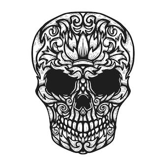 Hand getrokken menselijke schedel gemaakt bloemenvormen.