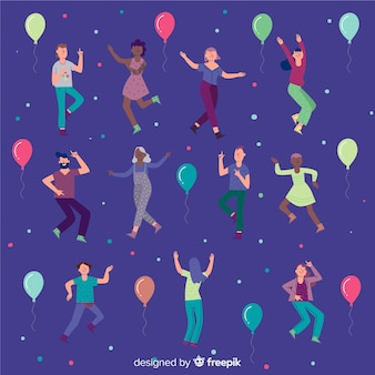 Hand getrokken mensen dansen achtergrond
