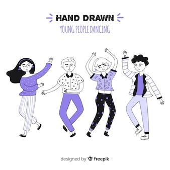 Hand getrokken mensen dansen collectie