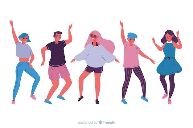 Hand getrokken mensen dansend pak