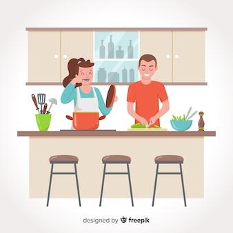 Hand getrokken mensen die achtergrond koken
