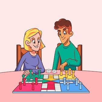 Hand getrokken mensen die bordspellen spelen