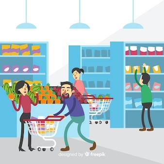 Hand getrokken mensen die de supermarktachtergrond kopen