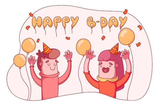 Hand getrokken mensen die een verjaardag vieren