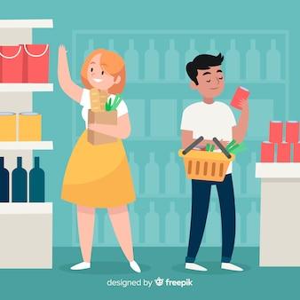 Hand getrokken mensen die op de supermarktachtergrond winkelen