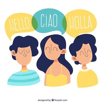 Hand getrokken mensen die verschillende talen spreken
