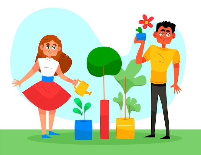 Hand getrokken mensen die voor planten buitenshuis zorgen