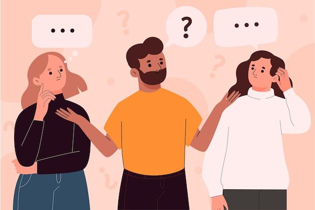 Hand getrokken mensen die vragen stellen