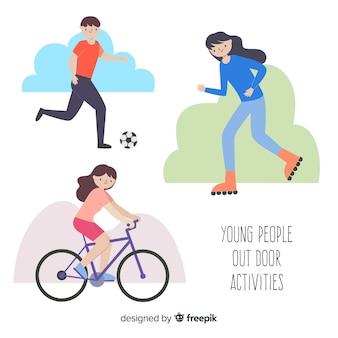 Hand getrokken mensen doen buitenshuis activiteiten pack