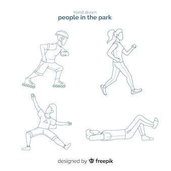 Hand getrokken mensen in de parkcollectie