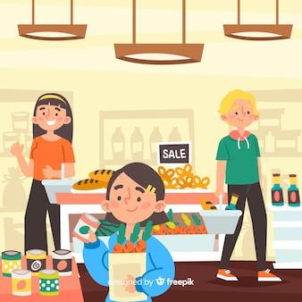Hand getrokken mensen in de supermarkt