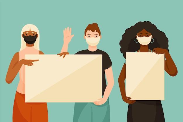 Hand getrokken mensen in medische maskers met borden