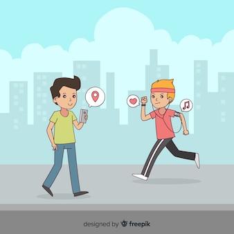 Hand getrokken mensen met behulp van elektronische achtergrond van het apparaat