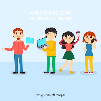 Hand getrokken mensen met behulp van elektronische apparatenverzameling