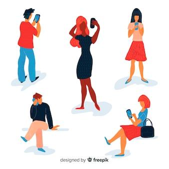 Hand getrokken mensen met behulp van smartphones