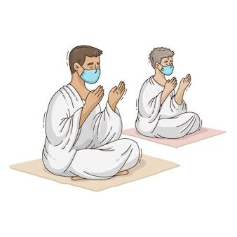 Hand getrokken mensen met gezichtsmaskers hajj-illustratie vieren
