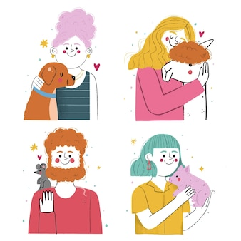 Hand getrokken mensen met huisdieren
