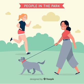 Hand getrokken mensen op de achtergrond van het park