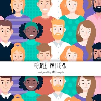 Hand getrokken mensen patroon achtergrond