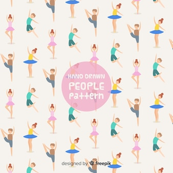 Hand getrokken mensen patroon
