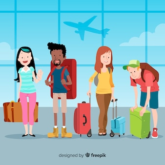 Hand getrokken mensen reizen collectie