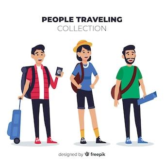 Hand getrokken mensen reizend pakket