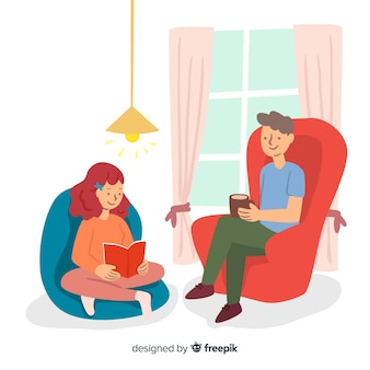 Hand getrokken mensen thuis illustratie
