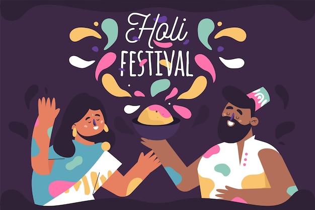 Hand getrokken mensen vieren holi festival