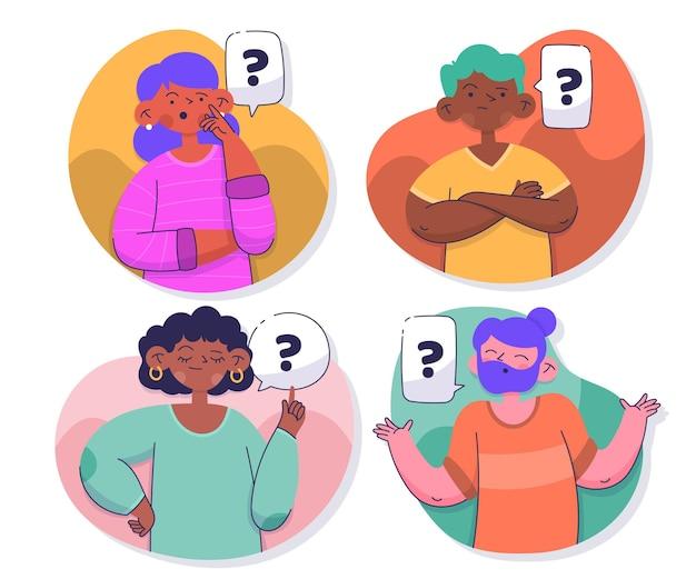 Hand getrokken mensen vragen collectie