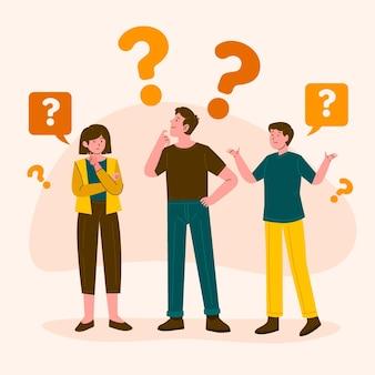 Hand getrokken mensen vragen illustratie