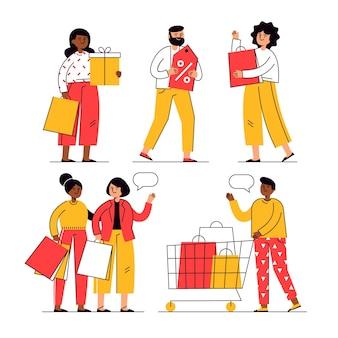 Hand getrokken mensen winkelen in de uitverkoop