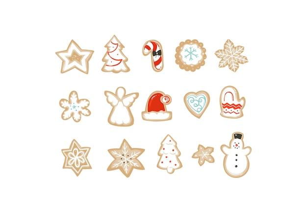 Hand getrokken merry christmas tijd cartoon illustraties collectie set met cookies